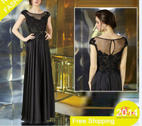 elegant sheer crew neck black lace applique beads chiffon mo...