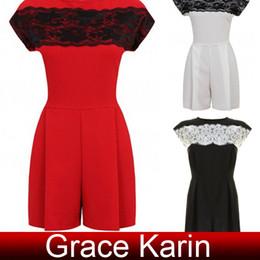 Wholesale Fashion Womens Celebrity Casual Short Cotton Lace Crew Neck Jumper Jumpsuit Romper Black Size S XL CL5750