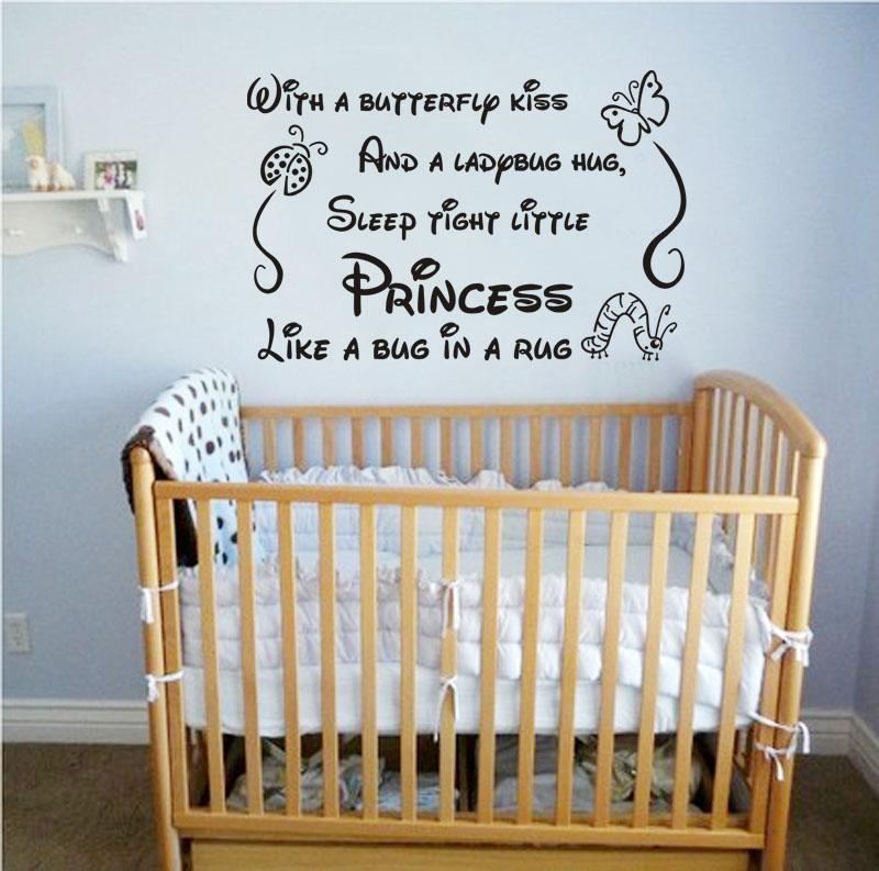 free shipping quote wall sticker kiss sleep tight little princess vinyl lettering wall decal art sticker