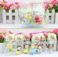 tinkerbell - 5sets High Quality PVC Princess Keychain Tinkerbell doll toy Collection Figure Key Chain for making necklaces Retail