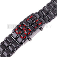 Men's Rectangle LED watches Free Shipping! Red LED Mens Black Metal Band Iron Lava Samurai Style Wrist Watch LVE42