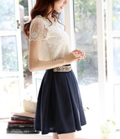 Women Polyester Polo Hot Spring 2014 Fashion Women Blouse Short Sleeve Casual Shirt Lace Top Pearl Collar Clothing Size M-XXL