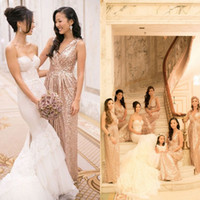 gold bridesmaid dresses - New Arrival Rose Gold Bridesmaid Dresses V neck Floor Length Sequined Maid Of Honor Wedding party Dresses Formal Gowns EM02553