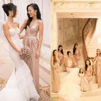 gold bridesmaid dresses - Custom Made Rose Gold Bridesmaids Dresses Plus Size Sequined Maid Of Honor Wedding Party Dresses Formal Bridesmaid Dresses UM02553