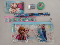 Wholesale 20 sets new arrival frozen small bag Stationery Set small book ruler pencil eraser sharpener set great gift for boys girls free