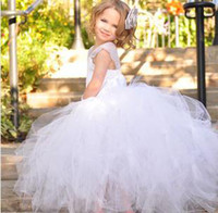 Wholesale Mesh Flower Girls Dresses White Color With Feather Headband PC B5