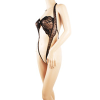 Wholesale S5Q Women s Ladies Sexy Underwear Black Lace Bodysuit Lingerie Sleepwear Undies AAADHI