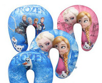 cartoon pillow - 2014 New Arrival Fashion Children Cartoon Frozen Elsa Anna Children U Shape Pillow Neck Pillow Nap Travel Pillow CM Cotton Blue Pink E0232