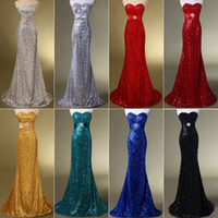 gold evening dresses - Cheap Ready to wear Sexy Red Black Gold Evening Dresses Beaded Prom Gown Backless Mermaid Trumpet Sweetheart Sequins Lace up