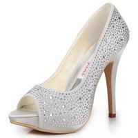 Women Pumps Spring and Fall EP11066-IP Women White Silver Wedding Peep Toe Stiletto Heel Platform Rhinestones Pumps Satin Prom Party Evening Bridal Shoes