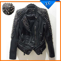 Jackets Women Real Leather Women's punk RIVETS STUDDED Motorcycle PU Leather Spike Jacket autumn winter european style clothing outerwear women coats