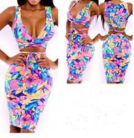 Wholesale New European Fashion Women Sexy Knee Length Printing v neck Bodycon Celebrity Party Dress Bandage Dress