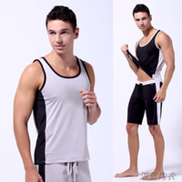 Wholesale Men s Sports Suits Household Fitness Sportswear Running Vest amp Shorts Polyester Mesh fabric Summer Tracksuits Omni Dry Quick Dry Suits
