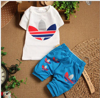 Boy Summer  2014 new fashion summer children's clothes infant baby short-sleeved suit pants sport suit