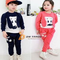 Unisex Spring / Autumn Long Kids Set boys Girls dog style 2 colors baby sweaters Suit baby Casual Clothing outside Suit children Clothes For Autumn Winter J071503#