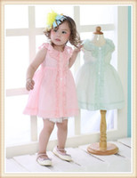 TuTu Summer A-Line High Quality New Design 2014 Fashion dress cotton blended 2T-5T in stock Tutu 3D Solid sweet style Baby Clothes Single Breasted dress 2572A