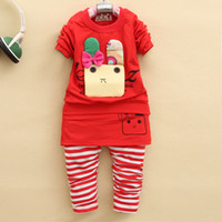 Girl Spring / Autumn Long 2014 New winter cute baby clothes baby girls Cartoon Hoodies Outerwear suit Kids Terry Hooded outfits long sleeve Tee Tops + Pants set