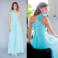 Wholesale Blue One Shoulder Long Bridesmaid Dresses Ruffle Chiffon Floor length Sheath Zipper Empire Waist Flowers Cheap Formal Dresses for Woman