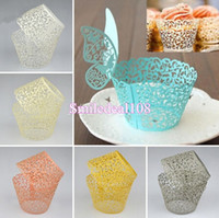 cupcake wrappers - 100pcs Flower Vine Cupcake Wrappers Cake Wrap Laser Cut Case Wedding Party Birthday Baby Shower Decoration