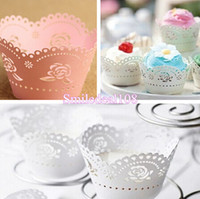 cupcake decorations - 100pcs Rose Laser Cut Cupcake Wrappers Hollow Paper Muffin Cake Wrapper Wedding Birthday Baby Shower Party Decorations