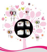achat en gros de keyring couple maison-Sparrow Porte-clés + Sifflet + Keyholder Couples Oiseaux Porte-clés cute bird house Porte-clés pour Lovers Cadeaux YSQ14071508