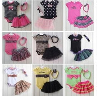 Wholesale Retail Baby romper Romper Tutu Skirt Headband set infant suits Girl s Fashion Cotton Toddler bodysuit Fashion Leopard Dots Skull