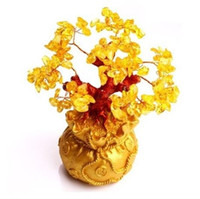 Barrettes & Clips Natural crystal / semi-precious stones Citrine Shipping Citrine Lucky Tree tree ornaments natural crystal jewelry wholesale home decoration furnishings cash cow