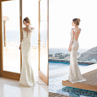 Wholesale Julie Vino Luxury Silver Backless Wedding Dresses with Deep V neck Sheer Long Sleeves Floor Length Sequined Custom Made Bridal Gowns