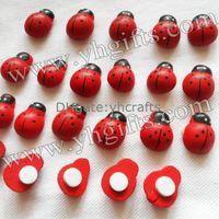 Wholesale 500PCS Wood ladybug stickers Easter crafts Flowerpot deoration Kids crafts Promotion toys Home decoration x1 cm