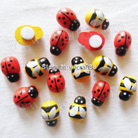 Wholesale 1000PCS Mixed wood yellow bee stickers amp red ladybug stickers D Wall stickers Kindergarden ornament Fridge stickers x9mm