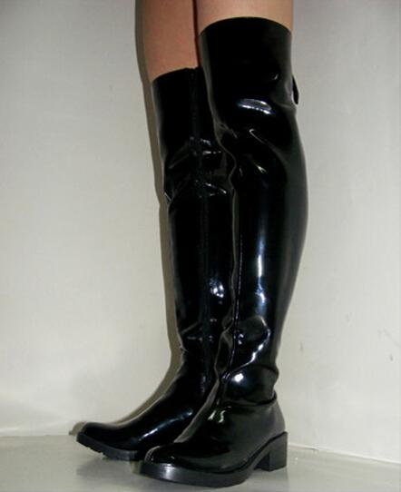 Men's Shoes Over-the-Knee Boots,Punk Patent Leather Pole Dancing ...