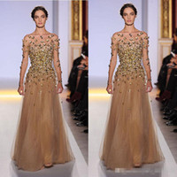 Reference Images Crew Chiffon 2014 Elie Saab Long Sleeve Evening Dresses Bateau Illusion Shher Neck Emiper Waist with Gold Bead Champagne Pagent Dresses