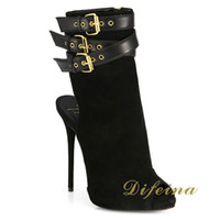 Wholesale Woman Short Boots Cowhide Leather Boots Roman Style Bind Belt Buckles Metal Decoration Boots Hollow Out Peep Toes Heel cm