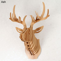 Wholesale deer head wall hanging home decoration Euro style DIY wooden crafts sculpture animal head wall decoration