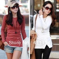 Women V-Neck Regular 2014 new fashion women clothing plus size t shirt korean style punk sexy tops tee hot trendy clothes Long sleeve Buckle