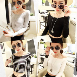 Wholesale Size M L XL Colors Fashion Women Long Sleeves Midriff baring Crop Tops Short Basic Bottoming T shirts Ladies Sexy Blouses A73