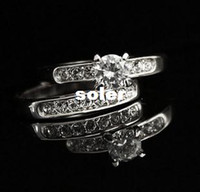 Band Rings Fashion Rings Wholesale fashion women jewelry counter genuine Exquisite four claw set single-row diamond ring Ring created Free shipping