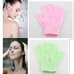 Wholesale Exfoliating Glove Skin Body Bath Shower Loofah Sponge Mitt Scrub Massage Spa Pink And Green EMS Only