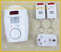 Wholesale Hot Selling Home Security Alarm Siren dB Motion Sensor Alarms With IR Motion Detector And Dual Arm Disarm Remote Keychains Free DHL