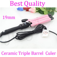 UK Pink ceramic glaze barrels 110V~240V 80-210°C 19mm Professional secret hair curler machine with Ceramic Triple Barrel for magic hair curling,LCD digital control