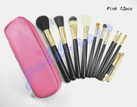 Goat Hair bags sets - HOT Makeup brushes Professional Brush Pink leather bag gift