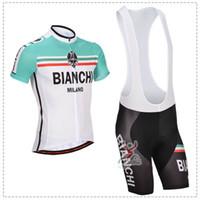 Wholesale NEW Bianchi Team Cycling clothing Cycling wear Cycling jersey short sleeve Bib Shorts Suite Bianchi D