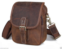 Messenger/Shoulder Bag fanny packs - crazy horse leather brown men waist pack genuine shoulder bag fanny pack