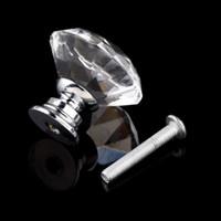 Ceramic Knob KA00800 1pack 10Pcs 30mm Diamond Shape Crystal Glass Knob Cupboard Drawer Pull Handle New