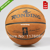 Footballs Yes new Wholesale-407-free shipping wholesale high quality leather indoor and outdoor training size 7# basketball balls size