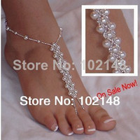 Wholesale Pearl barefoot sandals stretch anklet chain beach accessories foot jewelry footless sandals