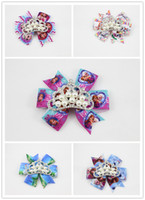 Wholesale 2014 new Frozen inspired Hairbow Baby Headband Hair clip with princess crown Boutique Hairbow Photoprop Hair Clip