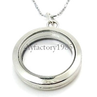 Unisex glass lockets - 5PCS mm Silver Round magnetic glass floating charm locket Zinc Alloy chains included for free
