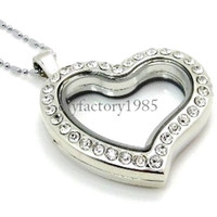 Unisex glass lockets - 5PCS mm Silver Heart magnetic glass floating charm locket Zinc Alloy Rhinestone chains included for free