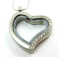 Wholesale 5PCS mm Silver Heart magnetic glass floating charm locket Zinc Alloy Rhinestone chains included for free Photo Locket